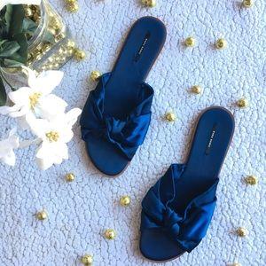 Zara Basic • Blue Faux Satin Braid Slip On Flats